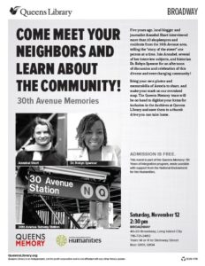 Flyer - November 12 event at Queens Library, Broadway branch